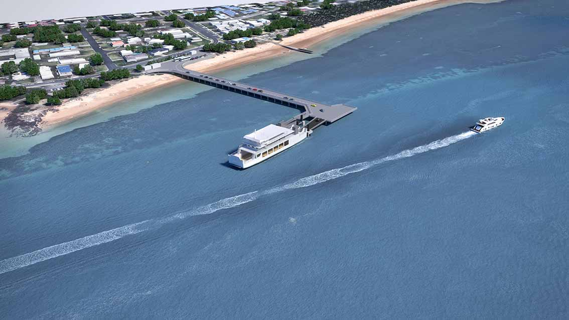 A concept sketch of the proposed car ferry terminal and pier between the Cowes Yacht Club and Mussel Rocks.
