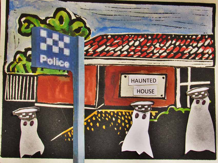 Cowes police station closes. Cartoon by Natasha Williams-Novak