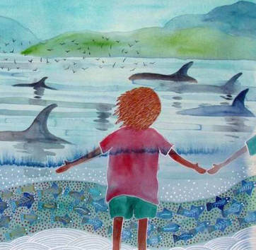 The humans will be singing back to the whales at next month's Island Whale Festival. Painting by Lisa Kennedy