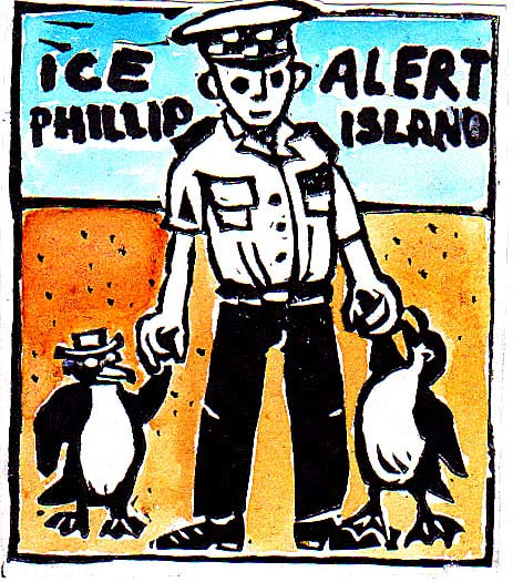 Ice alert Phillip Island, cartoon by Natasha Williams-Novak